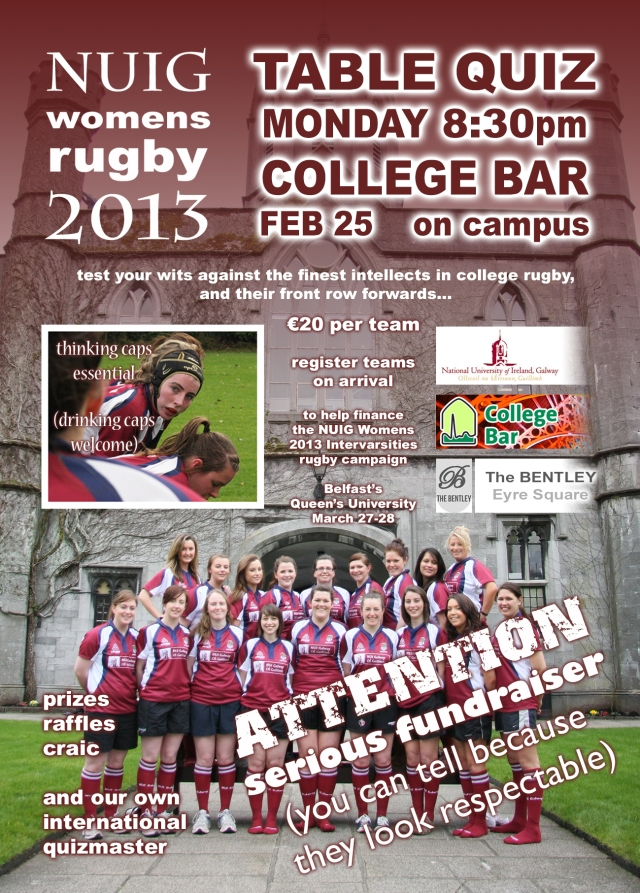 NUIG Womens Rugby Table Quiz!!